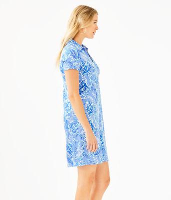 UPF 50+ Sadie Polo Dress, Blue Peri Turtley Awesome Engineered Knit Dress, large