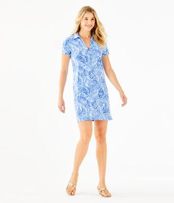 UPF 50+ Sadie Polo Dress, Blue Peri Turtley Awesome Engineered Knit Dress, large 3