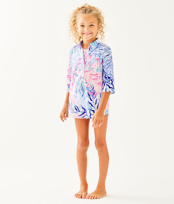 Girls Mini Natalie Cover-Up, Crew Blue Tint Kaleidoscope Coral, large