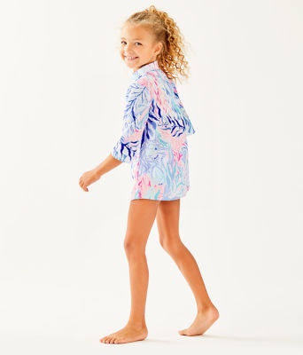Girls Mini Natalie Cover-Up, Crew Blue Tint Kaleidoscope Coral, large 2