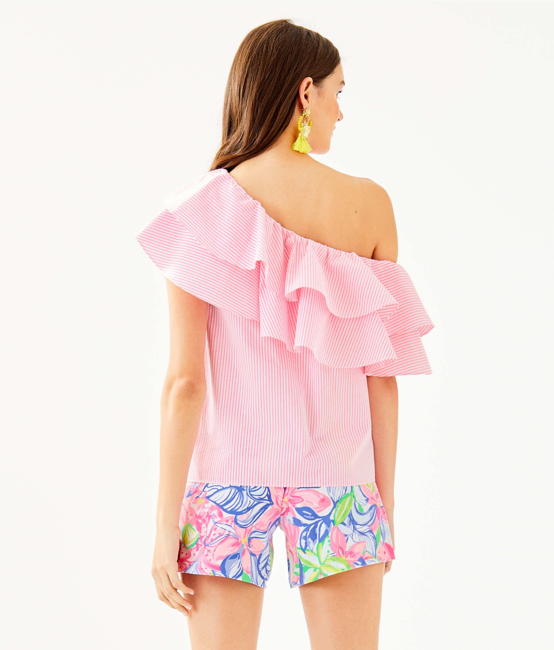 b113e3f7da4 ... Trixie One-Shoulder Top, Havana Pink Yarn Dye Seersucker, large ...