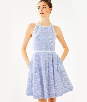 Tori Dress, Crew Blue Tint Yarn Dye Stripe Floral Eyelet, large 0