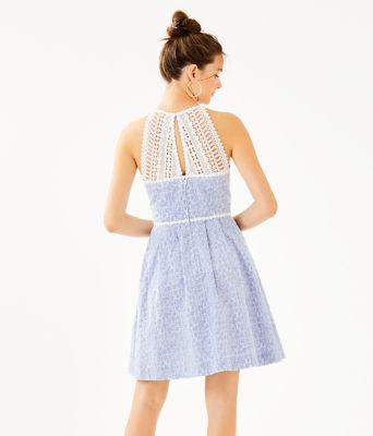Tori Dress, Crew Blue Tint Yarn Dye Stripe Floral Eyelet, large 1