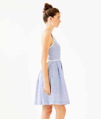 Tori Dress, Crew Blue Tint Yarn Dye Stripe Floral Eyelet, large 2