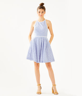 Tori Dress, Crew Blue Tint Yarn Dye Stripe Floral Eyelet, large 3