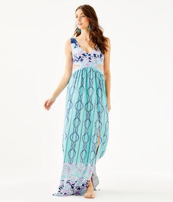 Marcia Maxi Dress, Light Aqua A Frayed Knot Engineered Dress, large 0