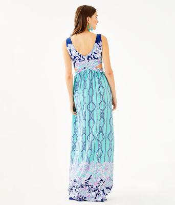Marcia Maxi Dress, Light Aqua A Frayed Knot Engineered Dress, large 1