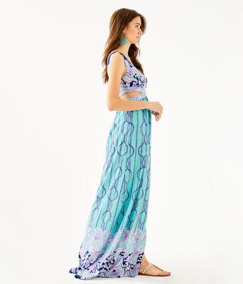 Marcia Maxi Dress, Light Aqua A Frayed Knot Engineered Dress, large 2