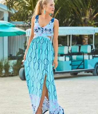 Marcia Maxi Dress, Light Aqua A Frayed Knot Engineered Dress, large 5