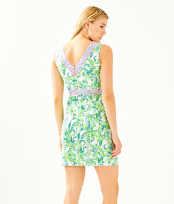 Lanora Stretch Shift Dress, Fresh Citrus Keep Palm Engineered Dress, large