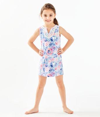 Girls Mini Harper Shift Dress, Crew Blue Tint Sea To Shining Sea, large