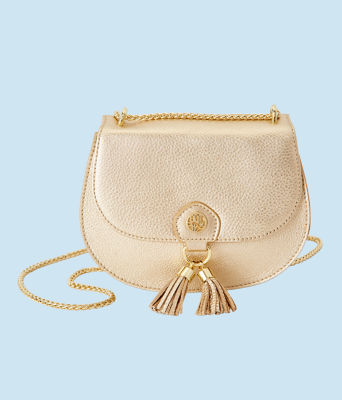 Sirena Crossbody Bag, Gold Metallic, large