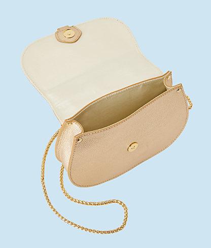 Sirena Crossbody Bag, Gold Metallic, large 1
