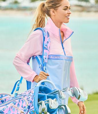 Tee It Up Golf Bag, Pink Tropics Tint Par Tee Time, large