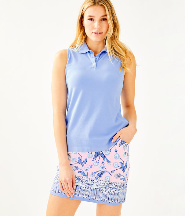 Luxletic Meredith Sleeveless Polo Top, Blue Peri, large