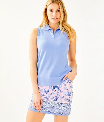 Luxletic Meredith Sleeveless Polo Top, Blue Peri, large