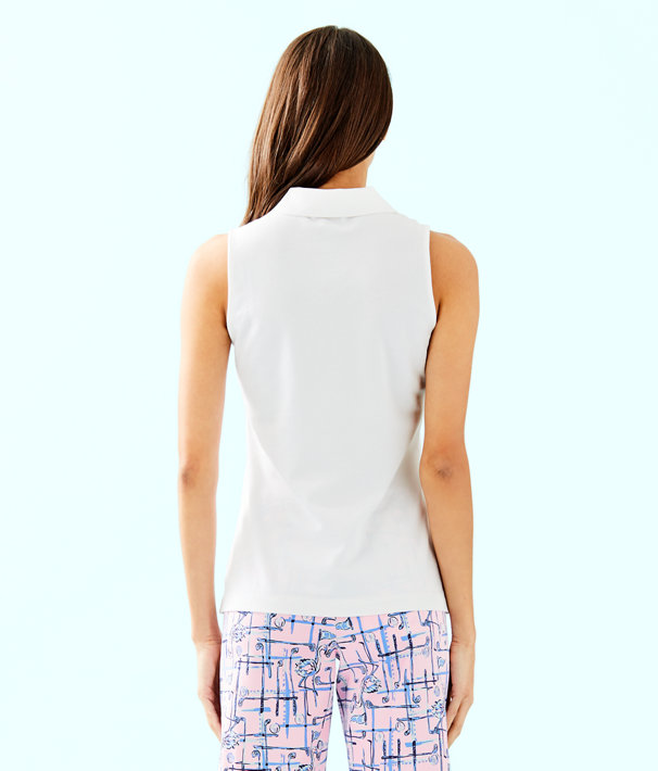 Luxletic Meredith Sleeveless Polo Top, Resort White, large