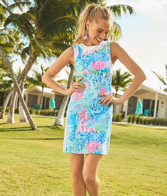 Mila Stretch Shift Dress, Multi Sink Or Swim, large 5