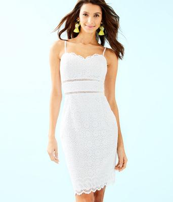 Jaida Dress, Resort White Sand Dollar Eyelet With Border, large 0