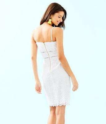 Jaida Dress, Resort White Sand Dollar Eyelet With Border, large 1