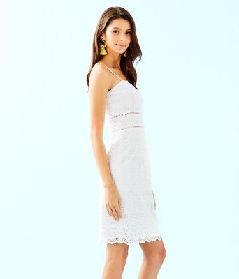 Jaida Dress, Resort White Sand Dollar Eyelet With Border, large 2