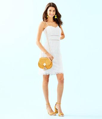 Jaida Dress, Resort White Sand Dollar Eyelet With Border, large 3