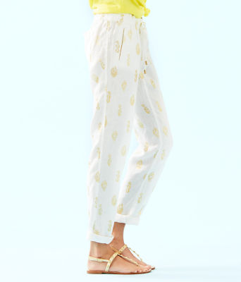 "31"" Aden Linen Pant, Gold Metallic Its For Shore Metallic, large"