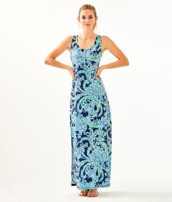 Merrill Maxi Dress, High Tide Navy Scuba Doo, large 0