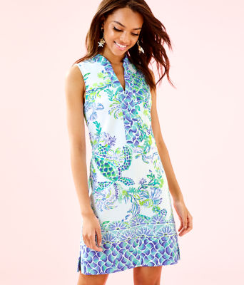 Larsen Shift Dress, Resort White Island Ride Engineered Shift Dress, large 0