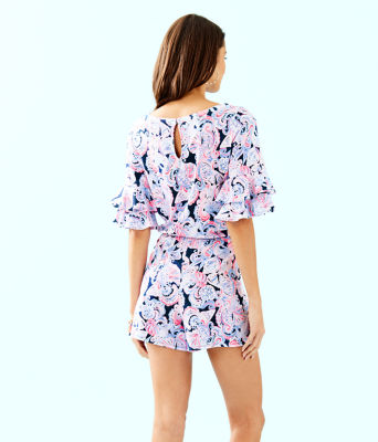 Lula Romper, High Tide Navy Its For Shore, large 1