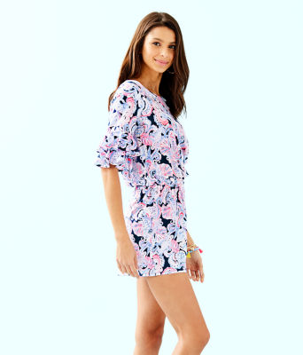 Lula Romper, High Tide Navy Its For Shore, large 2