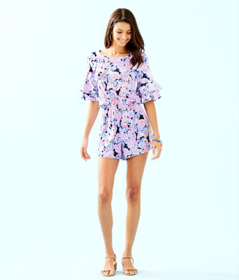 Lula Romper, High Tide Navy Its For Shore, large 3