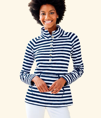 UPF 50+ Captain Popover, Bright Navy Positano Stripe, large 0
