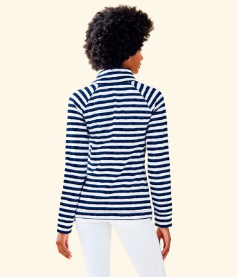 UPF 50+ Captain Popover, Bright Navy Positano Stripe, large 1