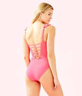 Carmen One-Piece Swimsuit, Crab Claw Coral, large
