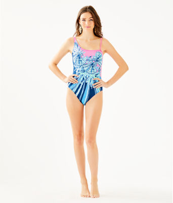 Larue One-Piece Swimsuit, Deep Sea Navy Hooked On A Feeling Engineered One Piece, large