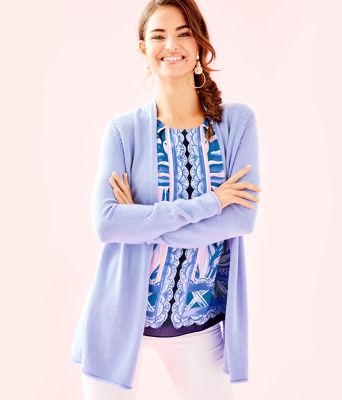 Allyse Cardigan, Heathered Blue Peri, large