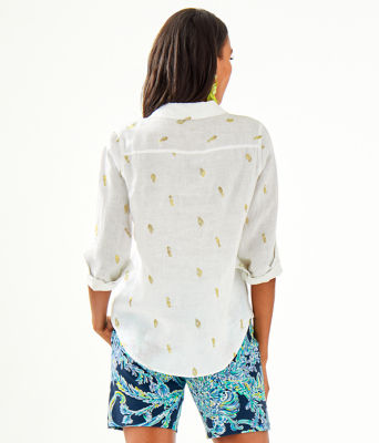 Sea View Button Down Top, Gold Metallic Its For Shore Metallic Small, large 1