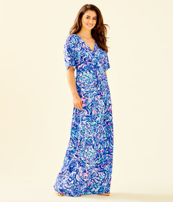 Parigi Maxi Dress, Royal Purple Party Wave, large 0