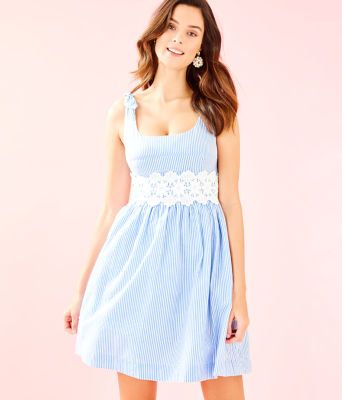 Tessa Dress, Coastal Blue Seersucker, large