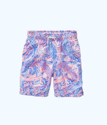 Boys Junior Capri Swim Trunks, Coastal Blue Maybe Gator, large
