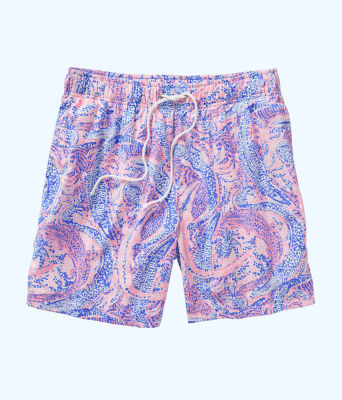 Mens Capri Swim Trunks, Coastal Blue Maybe Gator, large