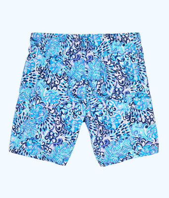 Mens Capri Swim Trunks, Light Aqua Spritz, large