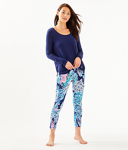 "UPF 50+ Luxletic 24"" High Rise Weekender Midi Legging, High Tide Navy Party In Paradise, large 3"