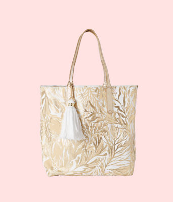 Reversible Shopper Tote, Gold Metallic Turtley Awesome Tote, large 0