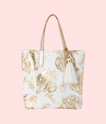 Reversible Shopper Tote, Gold Metallic Turtley Awesome Tote, large
