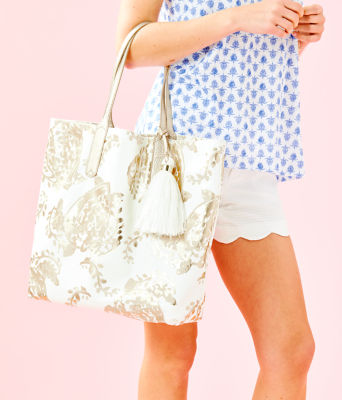 Reversible Shopper Tote, Gold Metallic Turtley Awesome Tote, large 4