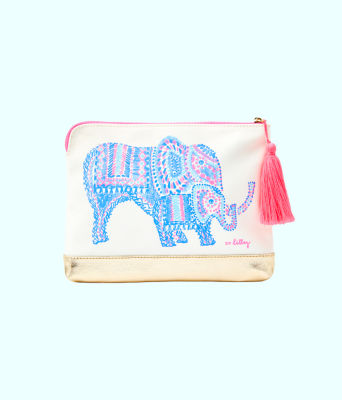 Bon Voyage Pouch, Multi Engineered Elephant Motif Pouch, large 0