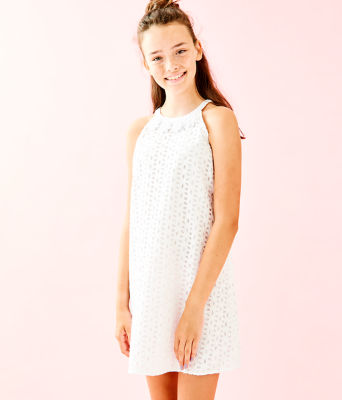 Girls Mini Pearl Shift Dress, Resort White Oval Flower Petal Eyelet, large 0