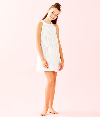 Girls Mini Pearl Shift Dress, Resort White Oval Flower Petal Eyelet, large 3